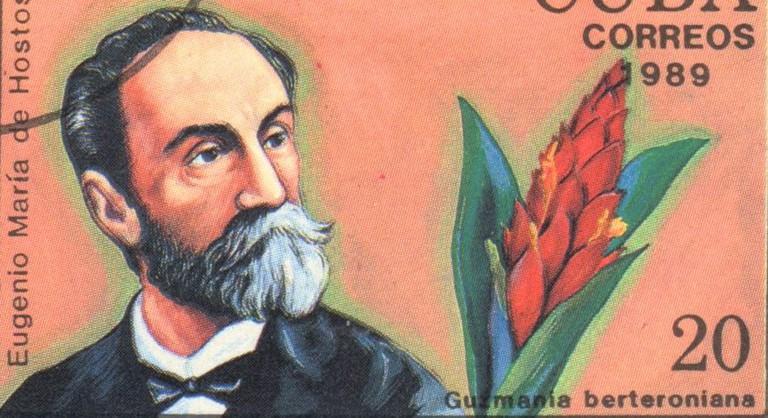 "A stamp printed in CUBA shows a Guzmania and Eugenio Maria de Hostos, series ""Historia Latinoamericana"", circa 1989"