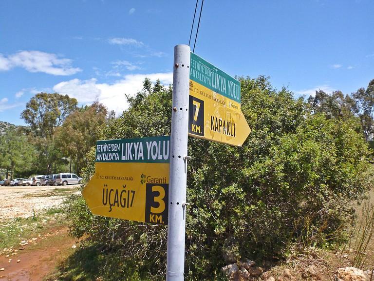 Sign at Lycian Way