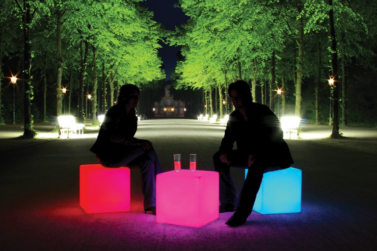 Multicoloured Outdoor LED Cube Table / Stool