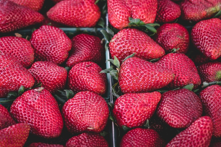 Fresh strawberries can be expected nearly year-round at the Organic food market
