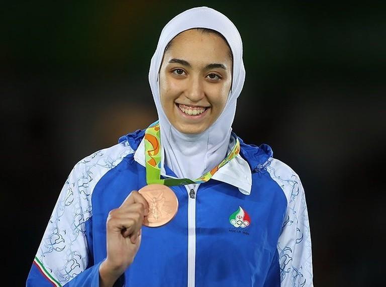 Kimia Alizadeh Zenoorin with her Olympic bronze medal.
