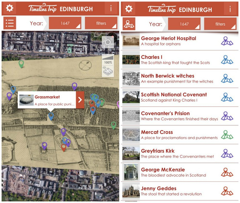 Timeline Trip Edinburgh App Screenshots