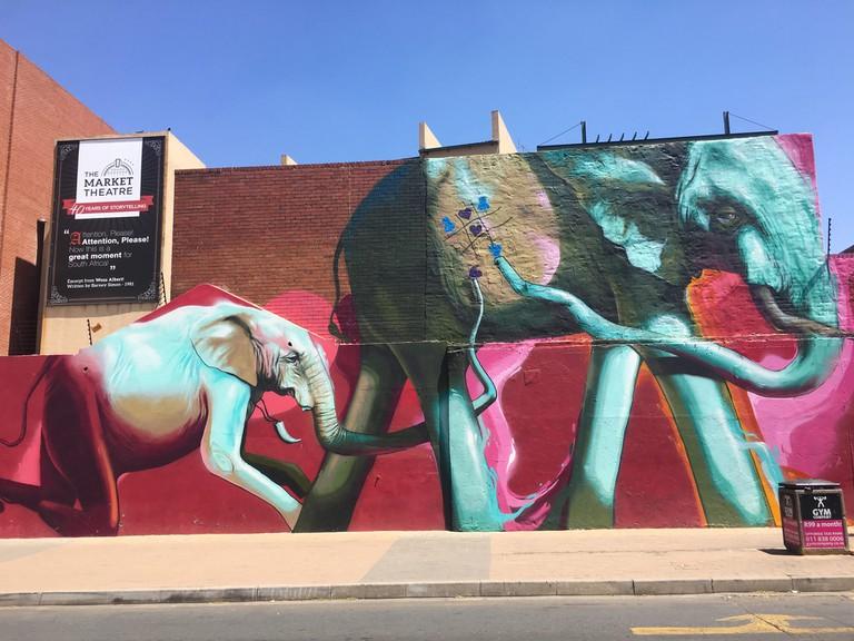Elephant street art mural by Falko