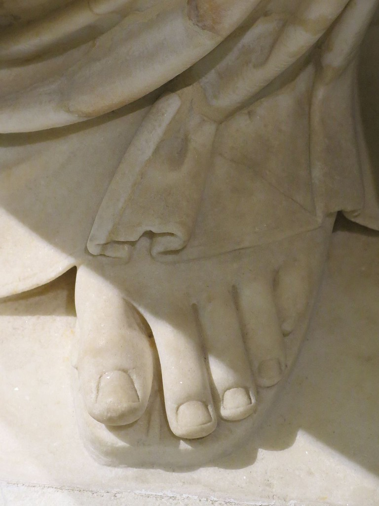 Close-up of the foot of the Venus of Arles, Louvre Museum, Paris, France
