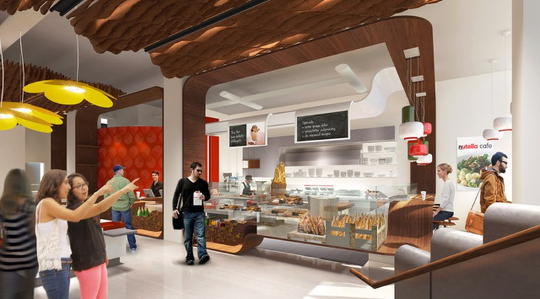 Rendering of the interior of the Nutella Cafe