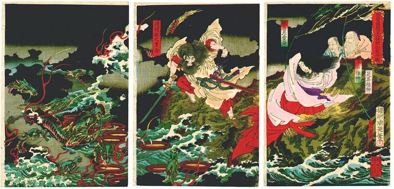 Susanoo slaying the Yamata-no-Orochi
