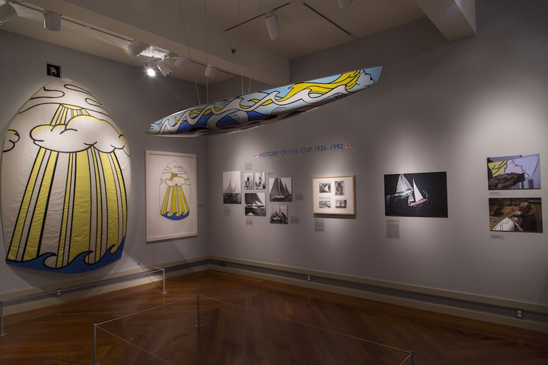 Installation shot of 'Young America: Lichtenstein and America's Cup'. Courtesy of the Middlebury College Museum of Art.