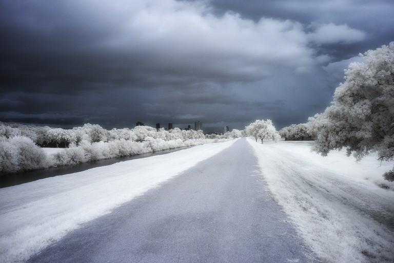 Icy roads near Forth Worth