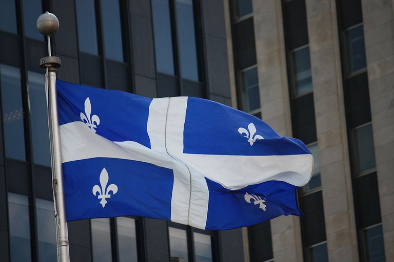 The Fleurdelisé, the flag of the province of Quebec