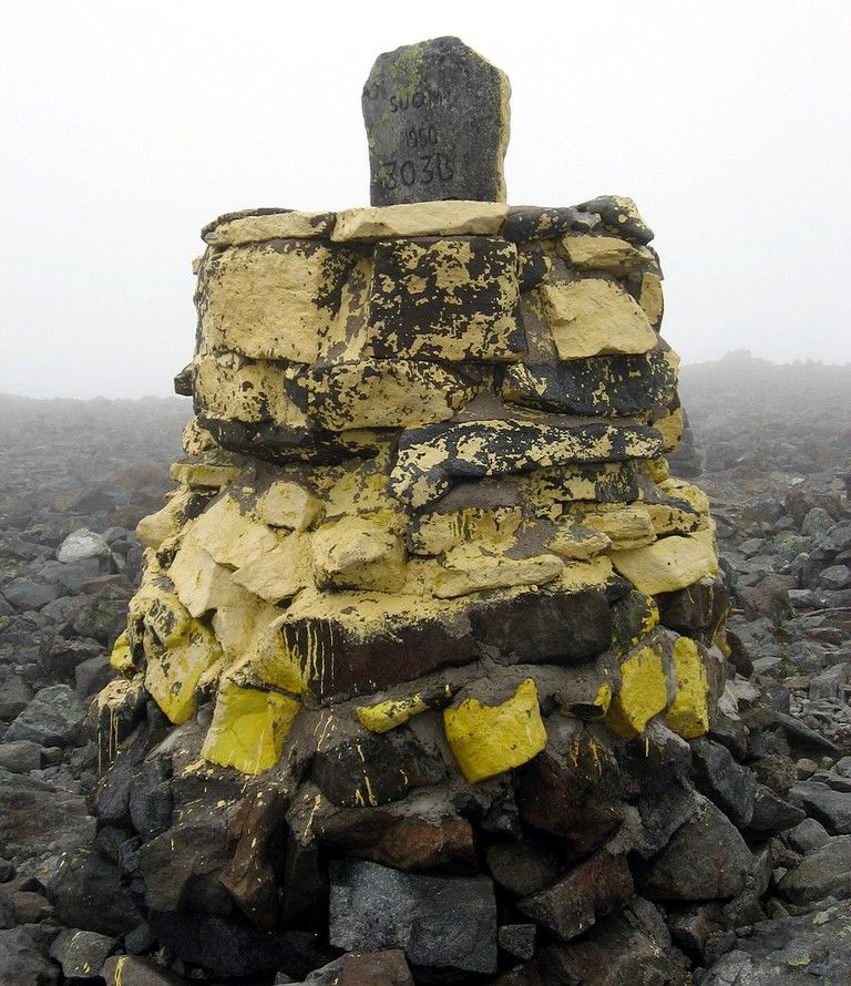 Marker at the top of Mount Halti