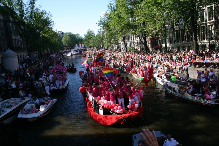Amsterdam's famous Gay Canal Parade
