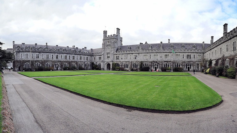 "The ""Long Hall"" and the clock tower of the UCC quadrangle 
