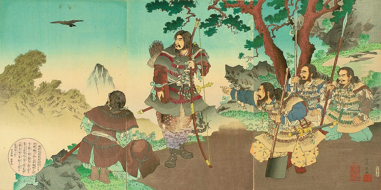 Emperor Jinmu – Stories from Nihonki (Woodblock print by Ginko Adachi, 1891)