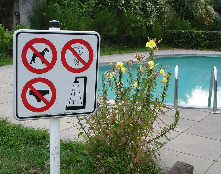 Swimming costumes are forbidden