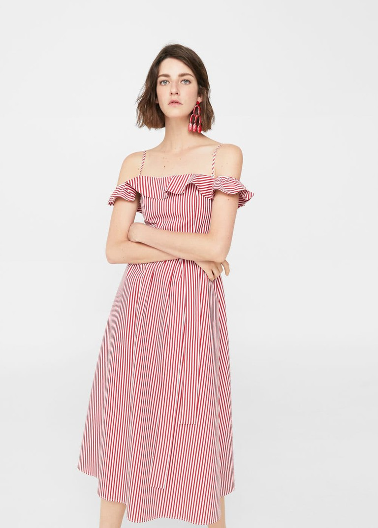 Mango off-the-shoulder dress, £49.99 http://shop.mango.com/GB/p0/woman/clothing/dresses/short/off-shoulder-striped-dress?id=13060715_70&n=1&s=prendas.vestidos