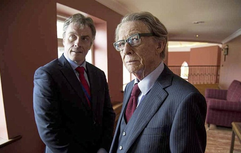 "Prime Minister Tony Blair (Toby Stephens) and MI5 supervisor Harry Patterson (John Hurt) in ""The Journey"""