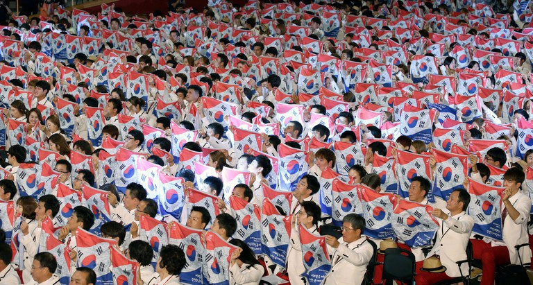 Fans cheer on team Korea at the Incheon Asian Games