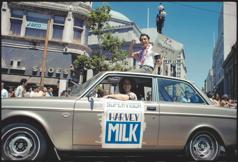 SF LGBT Pride Parade, Administrative Assistant Anne Kronenberg and recently elected supervisor, Harvey Milk. June 26 1978