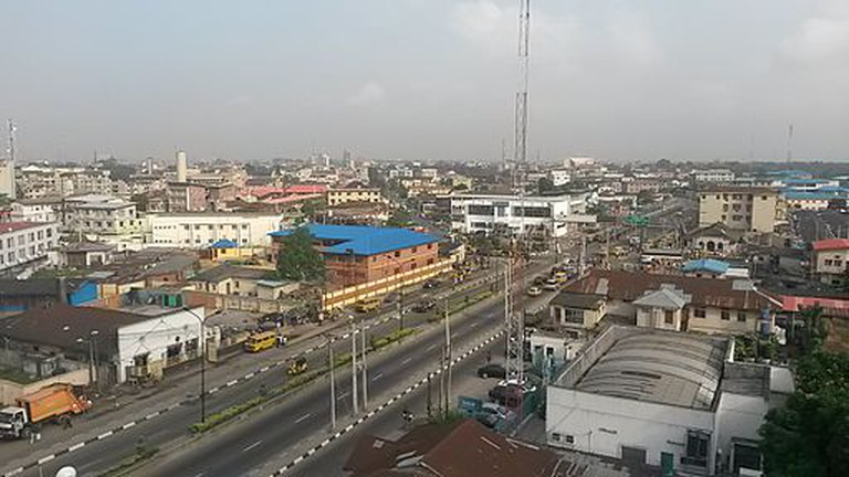 An aerial view of Yaba, Lagos.