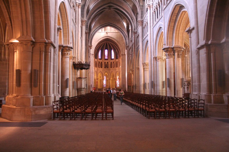 The inside of Lausanne's impressive Gothic cathedral