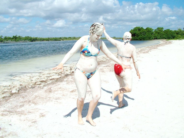 You can also take salty mud baths in the area