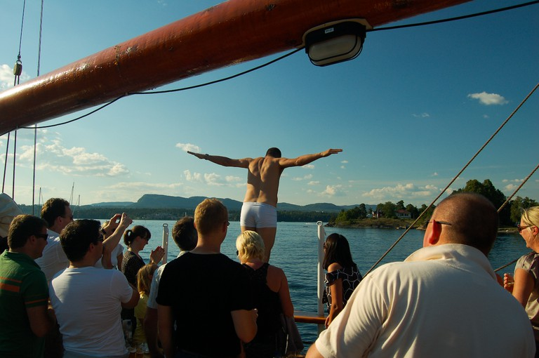 Who can resist a dip in the fjord?