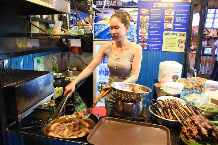 Fried spring rolls in the street food market │