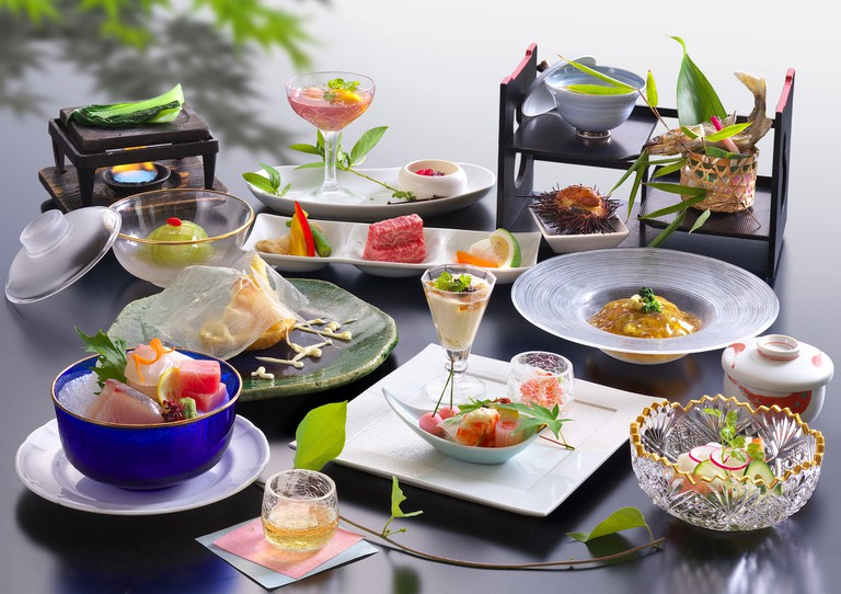 Summer kaiseki course at a traditional Japanese inn