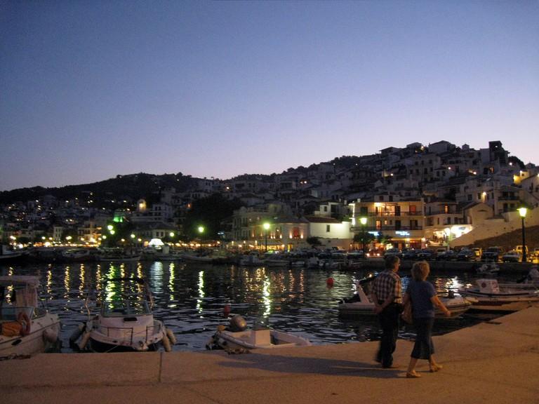 The port of Skopelos Town, Greece