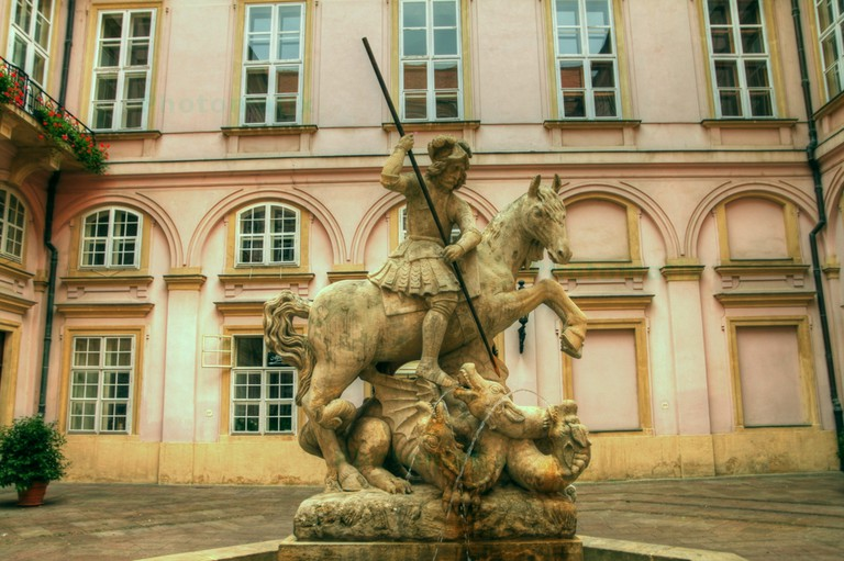 The Fountain of St. George and the Dragon in the interior courtyard of the Primatial Palace I