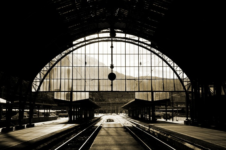 Bergen Station with view to the mountains