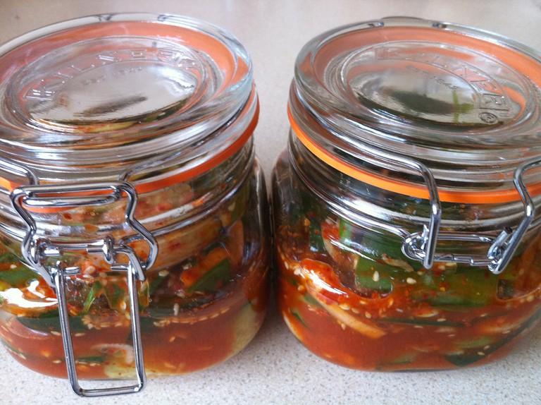 Cucumber kimchi to share