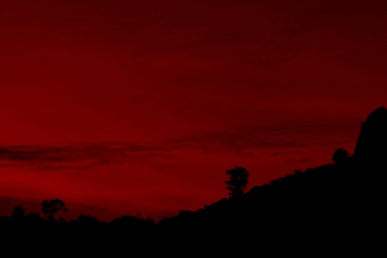 Red sunset at Savandurga