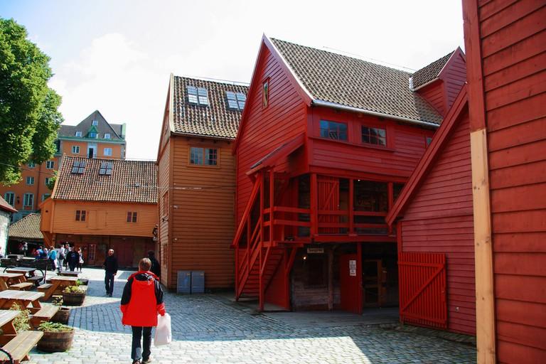Part of the Bryggen buildings' backyard