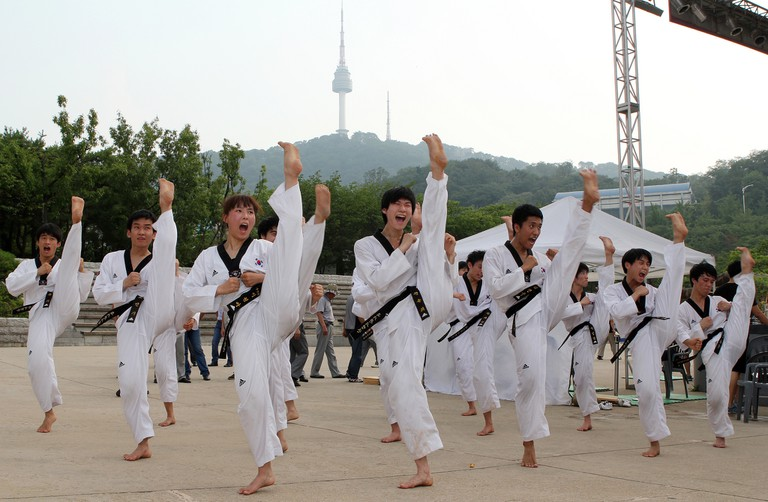 Kukkiwon Taekwondo Demonstration Team at Namsangol Hanok Village