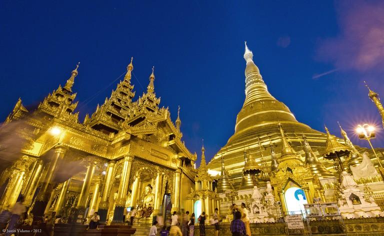 Shwedagon Pagoda lit up in the evening