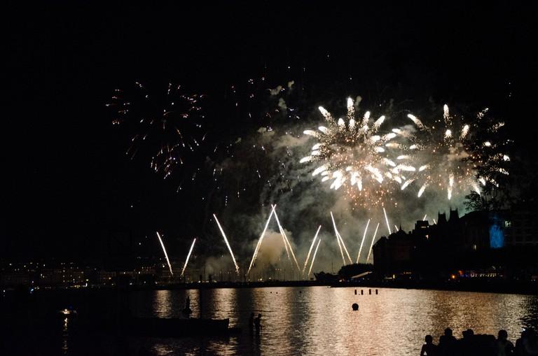 Fireworks over Lake Geneva