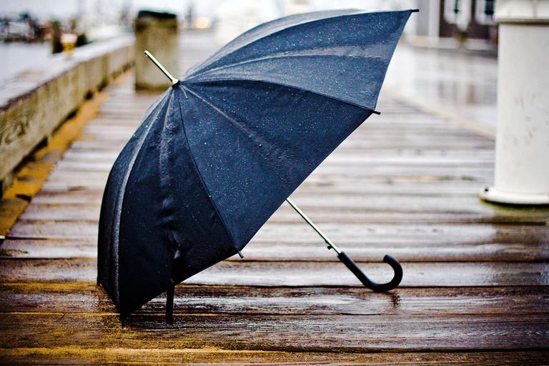 An umbrella in the rain