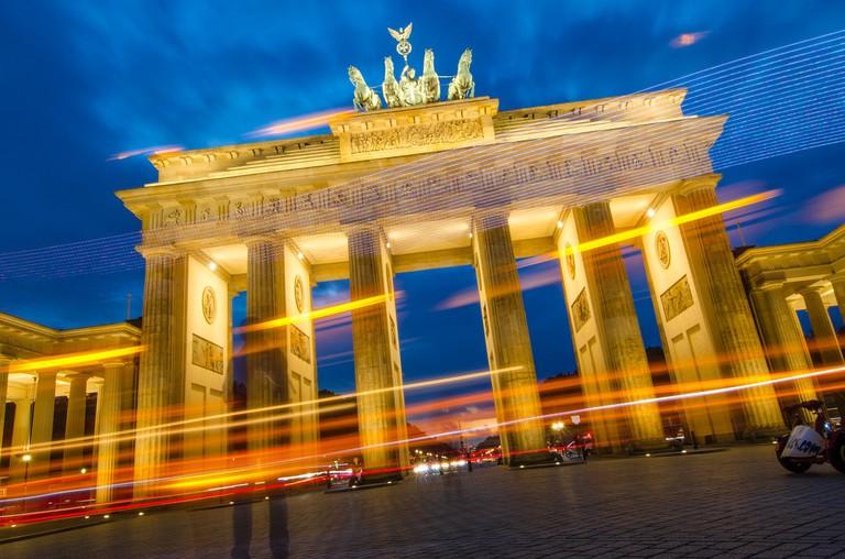 New Year is celebrated at Brandenburg Gate