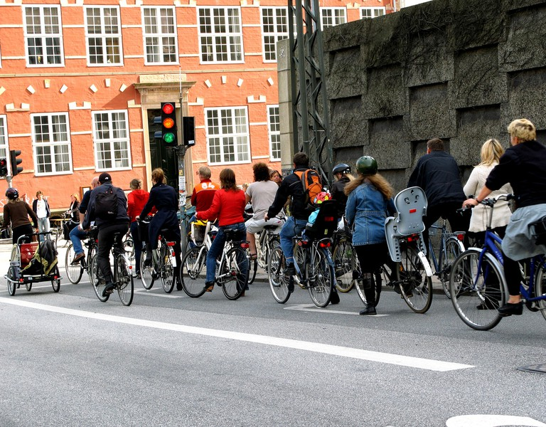 Bicycle rush hour in Copenhagen, where 37% of the population ride their bikes each day.