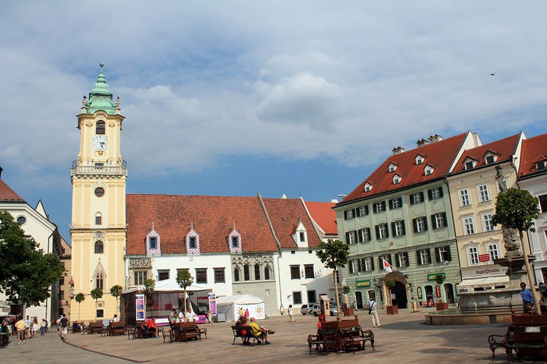 Bratislava's central square and the Old Town Hall and tower I
