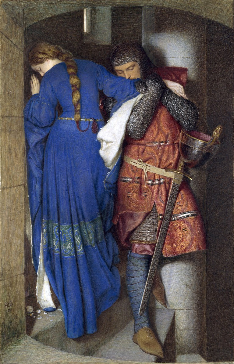 Frederic William Burton, Hellelil and Hildebrand, the Meeting on the Turret Stairs, 1864