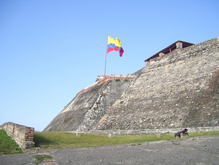 The Colombian flag flying over San Felipe Castle
