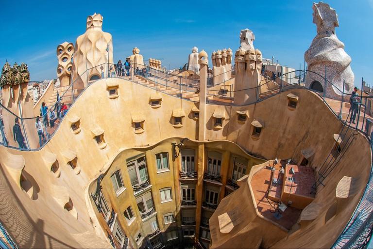 The rooftop of Gaudí's La Pedrera