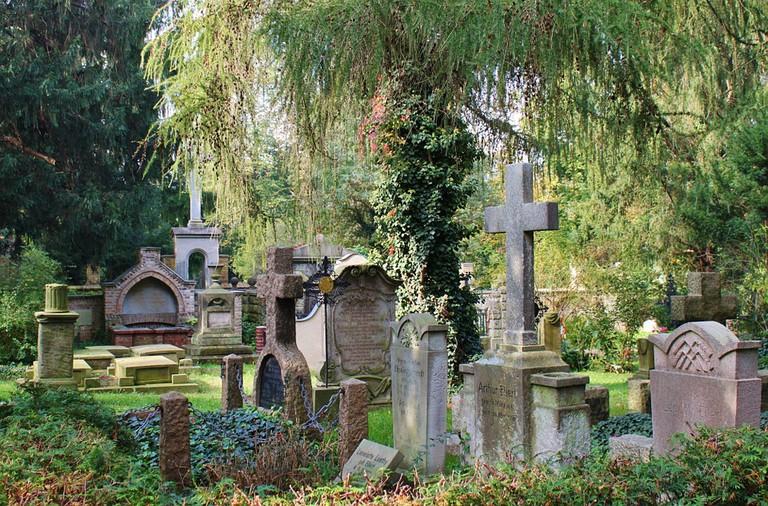 Gravestones in cemetery