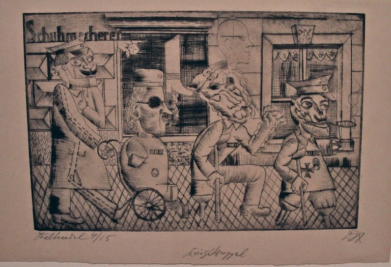 Otto Dix studied in Dresden and produced cutting works focused on post-war German society, such as War Cripples, with this photo of the original from New York's MoMA