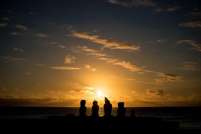 Sunset Moai
