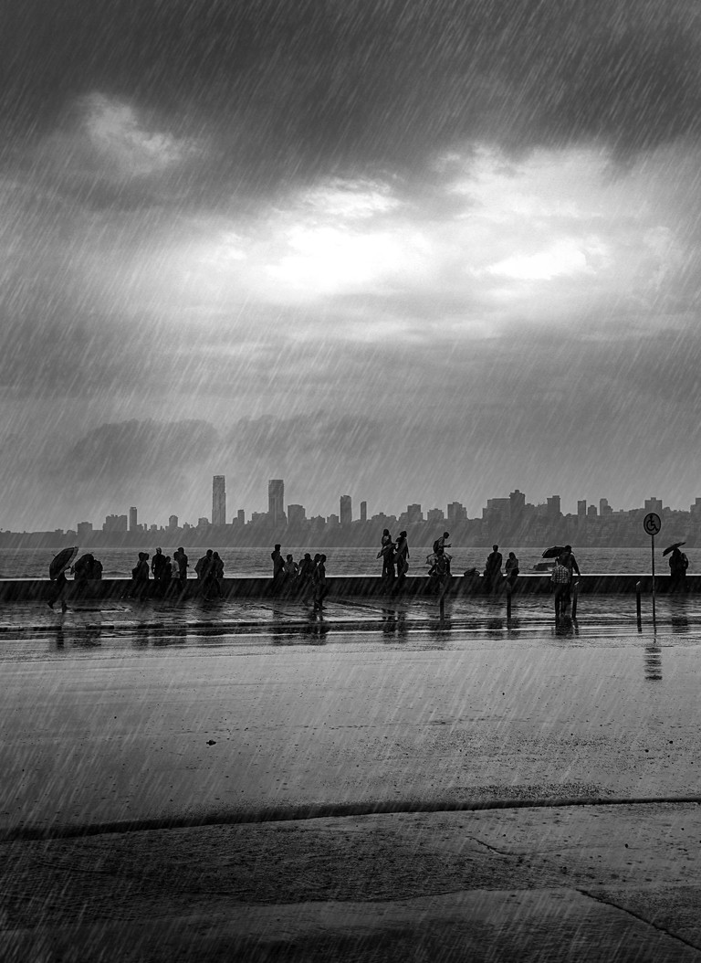 Marine Drive during a downpour in Mumbai
