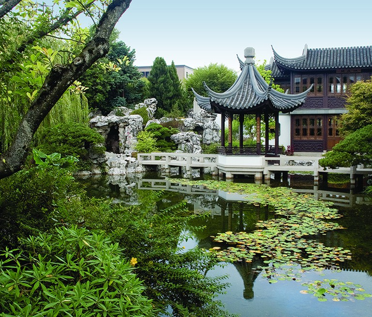 View from the Double Rainbow Bridge at Lan Su Chinese Garden in Portland, Oregon