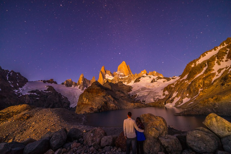 Mount Fitz Roy at night